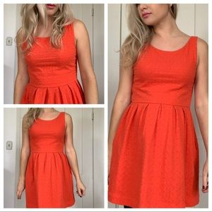 Anthropologie Deletta Coral Dress Fit & Flare Smal